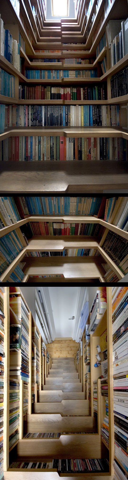 Full-room bookshelf with integral staircase