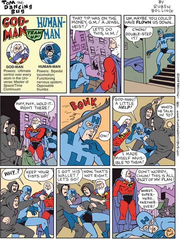 """God-Man and Human-Man"" comic from ""Tom the Dancing Bug"""