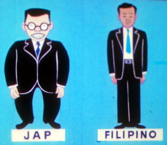 """Slide from a WWII training filmstrip showing the differences between a """"Jap"""" and a Filipino"""