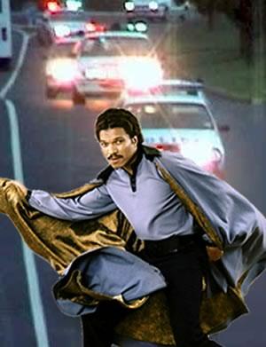 Lando Calrissian running from police cars