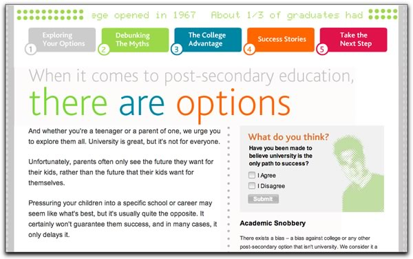Screenshot of Ontario Colleges site