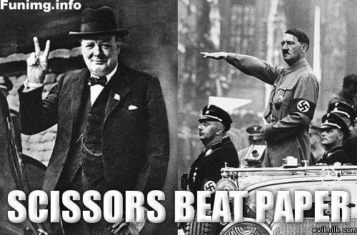 """Scissors (Churchill making the """"V for Victory"""" sign) beats Paper (Hitler performing the """"Sieg Heil"""" salute)."""