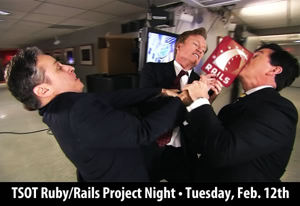 Jon Stewart, Conan O'Brien and Stephen Colbert fighting over a Rails logo