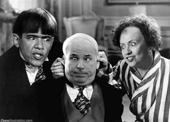 The Three Stooges, with Barack Obama's, John McCain's and Hillary Clinton's faces.