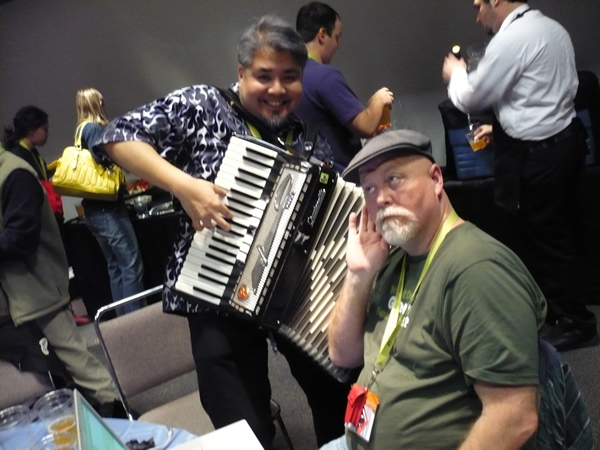 Joey devilla annoys Stowe Boyd with the accordion.