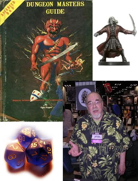 "Gary Gygax, the first edition of the ""Dungeon Master's Guide"", D&D dice, D&D figure"