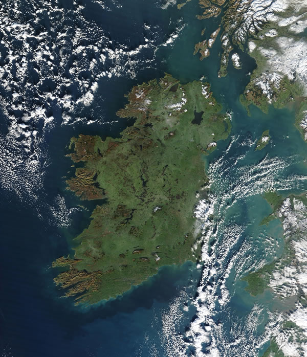 Satellite photo of Ireland