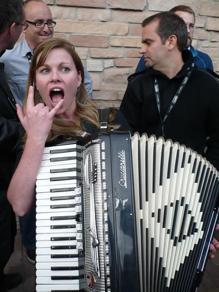 Krista plays the accordion