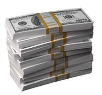 A big stack of U.S. bills
