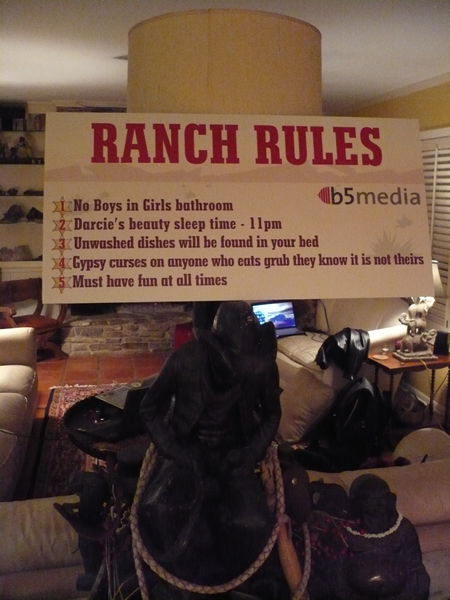 b5 Ranch Rules sign