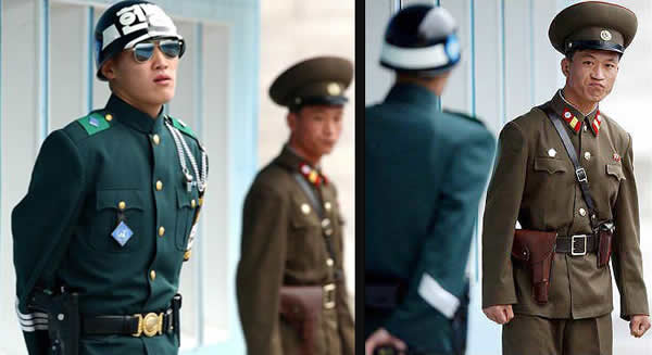 Annoyed North Korean soldier glaring at cool-looking South Korean soldier.