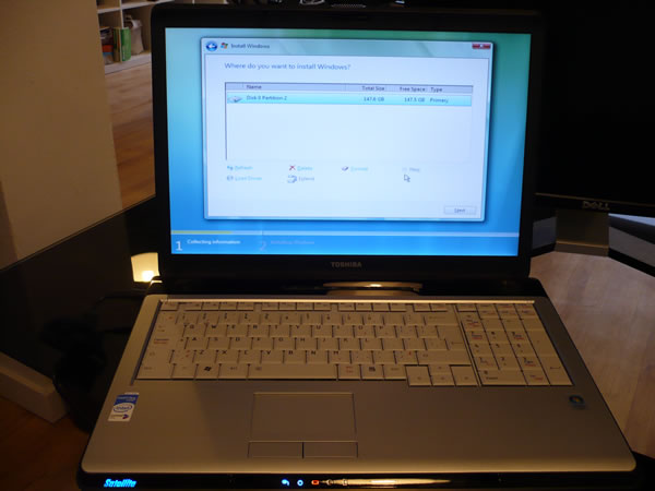 Joey deVilla's laptop at b5media, a Toshiba Satellite P200