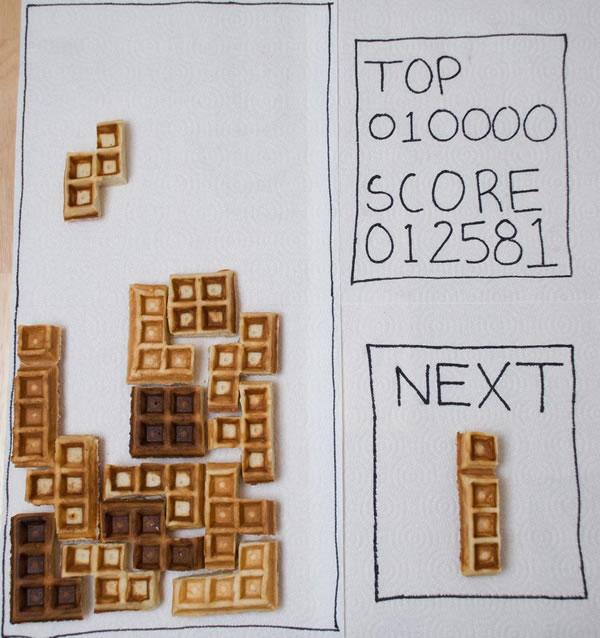 Tetris using waffle pieces