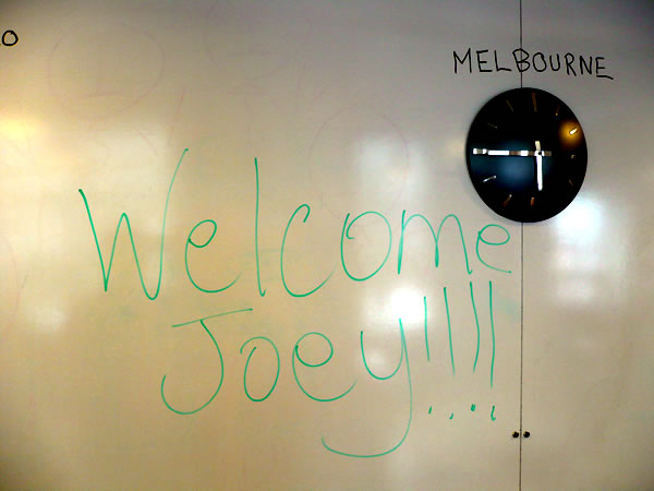 """Welcome Joey"" written on a whiteboard"