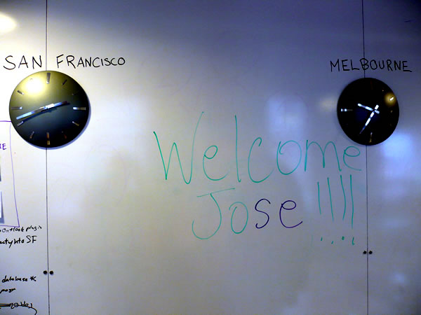 """Welcome Jose"" written on a whiteboard"