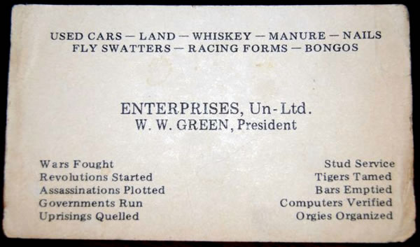 W.W. Green's very interesting business card