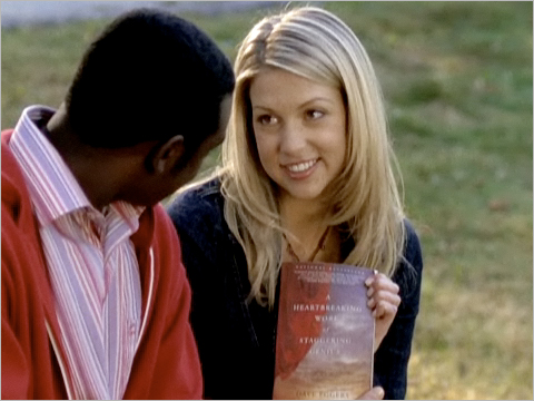 "Scene from ""Degrassi: The Next Generation"" with Damian, Emma and David Eggers' book, ""A Heartbreaking Work of Staggering Genius"""