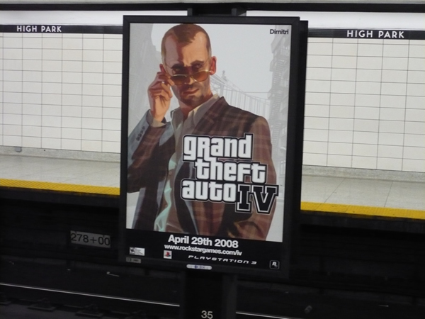 """""""Grand Theft Auto IV"""" advertisement in High Park station"""