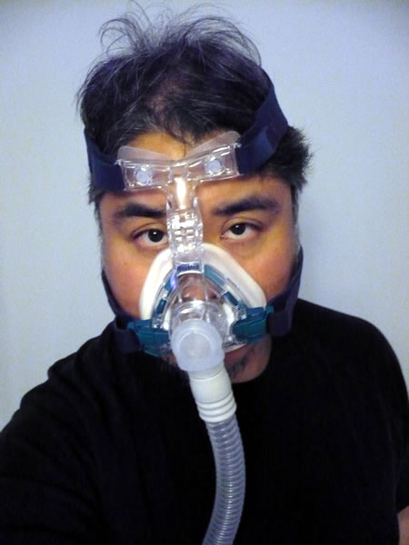 Joey deVilla wearing his CPAP mask.