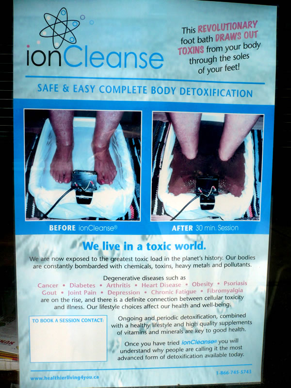 "Poster for ""Ioncleanse"" treatment that purports to remove toxins from the body through your feet."