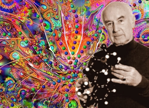 Albert Hofmann, holding a model of the LSD molecule in front of a psychedelic background.