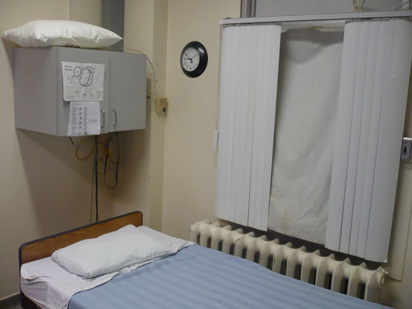 Bed at the sleep lab at St. Joseph's Health Centre, Toronto.