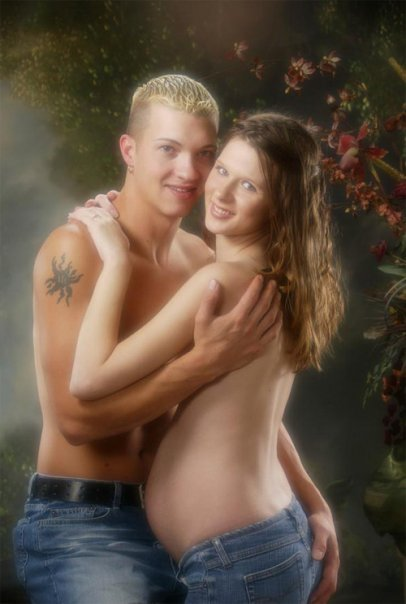 """""""Tasteful"""" yearbook photo of a topless couple hugging, complete with """"soft focus"""" effect."""