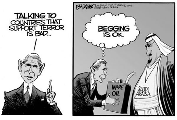 """George Bush: \""""Talking to countries that support terror is bad...begging is OK.\"""""""