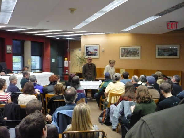 """Cory Doctorow being introduced at his reading of """"Little Brother"""" at the Merrill Collection"""
