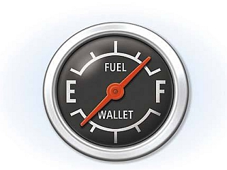 "Fuel-wallet gauge with needle pointing to ""F\"" for fuel and \""E\"" for wallet."
