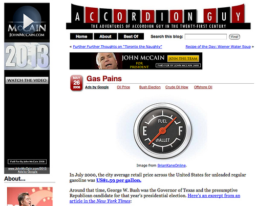 """Screen capture of \""""Gas Pains\"""" article with John McCain ads"""