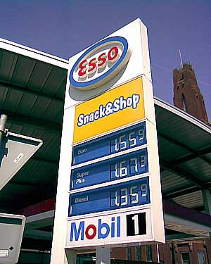 Sign showing gas prices in the Netherlands