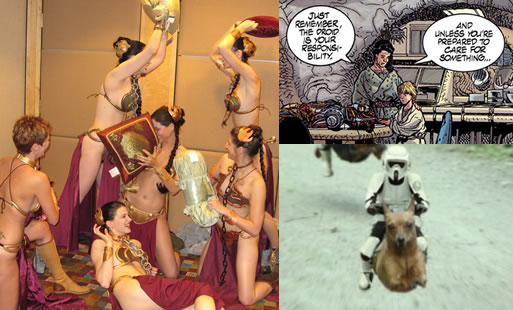 """Small versions of the """"Slave Leia Pillow Fight"""", """"Darth Emo"""" and """"Speeder Dogs"""" from Global Nerdy"""