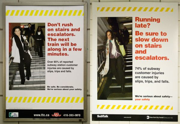Comparison of two suspiciously similar saftey posters from the TTC and MTA