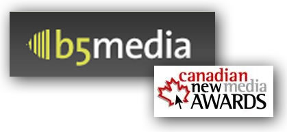 b5media and Canadian New Media Awards logos