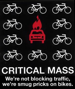 Critical Mass: We\'re not blocking traffic, we\'re smug pricks on bikes