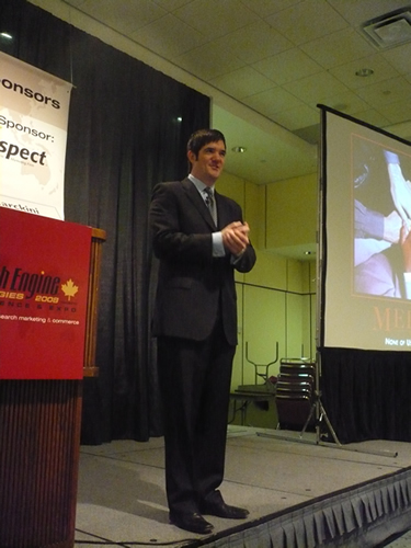 Fredrick Marckini giving his keynote at Search Engine Strategies 2008 Toronto