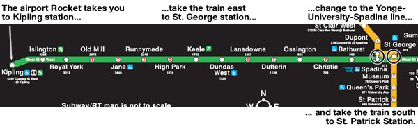 Map showing TTC subway trip from Kipling to St. Patrick station
