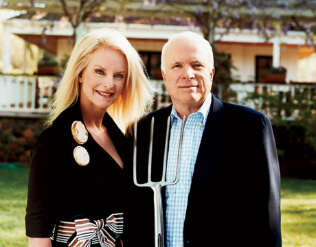 Cindy and John McCain, striking an