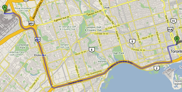 Map showing road directions from Pearson Airport to Metropolitan Hotel Toronto