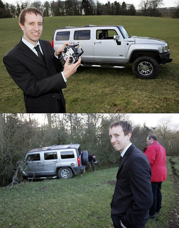 """Hilarious \""""before and after\"""" shots of guy and a full-size radio-controlled Hummer"""