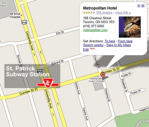 Map showing St. Patrick subway station and Metropolitan Toronto Hotel