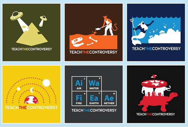 Design de camisetas que satirizam o movimento Teach The controversy.