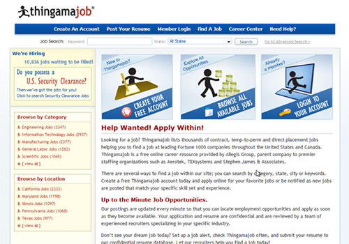 Screen shot of Thingamajob site