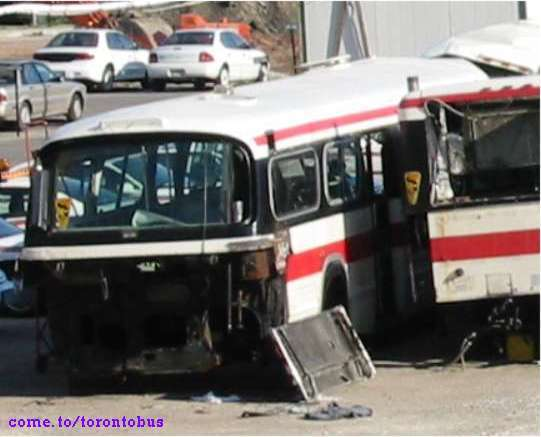 Wrecked TTC buses.