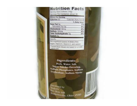 Close-up of nutritional information and ingredients on a Yoders Bacon can.