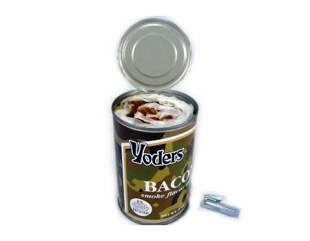 Open can of Yoders Bacon.