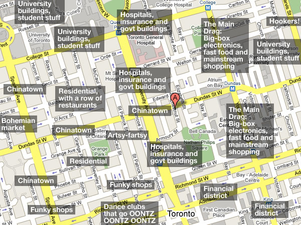 Annotated Map Of Areas Around Metropolitan Hotel Toronto