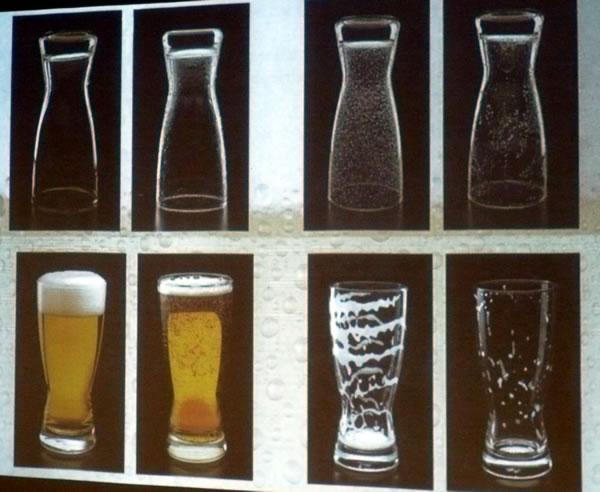Slide showing good vs bad beer glass characteristics