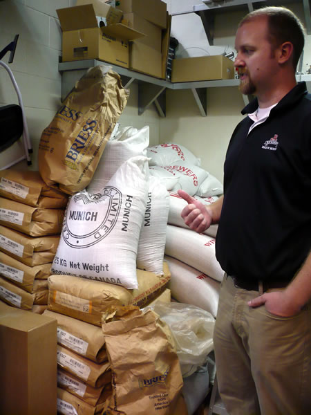 Bags of brewer\'s yeast in the storage room at the Air Canada Centre brewery